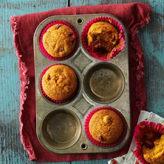 Cranberry Pumpkin Muffins Recipe -Tart, juicy cranberries enhance the delicate pumpkin flavor of these muffins. Sometimes I dust the tops with powdered sugar to add a little sweetness. —Sue Ross, Casa Grande, Arizona