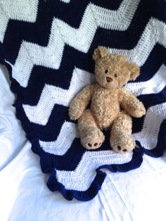 Beautiful Crochet Baby Blanket - Navy and White Chevron with Navy Ruffle Trim on Etsy, $50.00