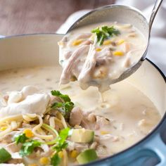 White chicken enchilada soup is a luscious creamy soup that will keep you warm this winter and is ready in just 30 minutes!