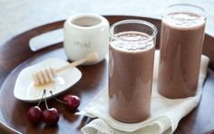Cherry Almond Smoothie       2 cups unsweetened almondmilk     1 (10-ounce) package frozen cherries     1/4 cup creamy raw almond butter