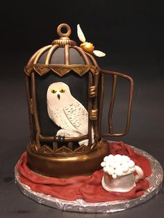 Harry Potter Hedwig cage cake snitch butterbeer