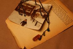 OneWarmSaturday - Vintage pieced necklace with tiny blue beads