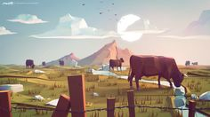 Lowpoly field by Maor Tzadoc | Abstract | 3D | CGSociety