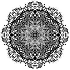 mandala: Circle lace ornament, round ornamental geometric doily pattern, black and white collection Illustration