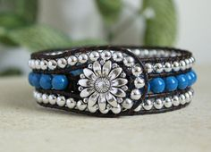 Beaded Leather Wrap Cuff by BearCreekCollection
