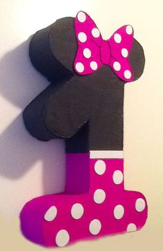 1st birthday minnie mouese pinata, minnie mouse party decoration, minnie party theme, mickey mouse party Personalized piñata