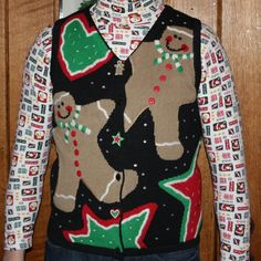 "Hilarious ugly sweater vest  Needing ideas for a FUN Ugly Christmas Sweater Party check out ""The How to Party In An Ugly Christmas Sweater"" at Amazon.com"