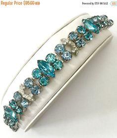 Eisenberg Rhinestone Bracelet, Pale Blue Chaton Aquamarine Chatons & Marquise, Two Pave Ice Ribbons, Wedding Jewelry, Special Occasion