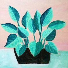 Plants on Pink No. 9 - an original acrylic painting, plants painted on a pink background door XantheCS op Etsy