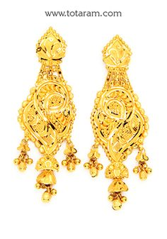 Gold Drop Earrings Indian gold jewelry Drop earrings and Gold