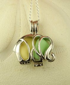 Your place to buy and sell all things handmade Sea Glass Necklace, Sea Glass Jewelry, Pendant Necklace, Milk Glass, Sterling Silver Chains, Handcrafted Jewelry, Elephant, Yellow, Green