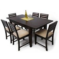 Frost 6 Seater Extendable Dining Table Set Cream  Rs 38,850  Material: Sheesham Wood Color/Finish: Mahogany Finish
