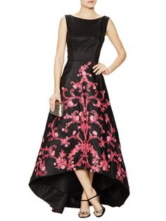 Silk Taffeta Embroidered High Low Gown by Monique Lhuillier at Gilt
