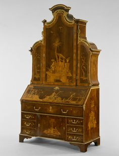 Chinoiserie - Secretary Desk - David Roentgen - German (Neuwied), Walnut and other woods, bronze mounts Furniture Making, Antique Furniture, Painted Furniture, Georgian Furniture, Unusual Furniture, Art Nouveau, Charles X, Art Institute Of Chicago, 18th Century