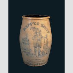 "STORAGE JAR OR CROCK/ Artist unidentified, probably Boston, New England, c. 1850–1870, glazed gray stoneware, 26 5/8 × 15 1/4"" diam. (at top), collection American Folk Art Museum, gift of Ralph Esmerian: 2013.1.24. Photo credit: John Bigelow Taylor."