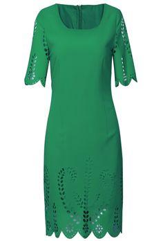Green Short Sleeve Back Zipper Hollow Dress $49.99