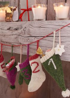 free christmas knitting pattern for an advent calendar garland Frugal Christmas, Christmas Projects, Christmas Knitting Patterns, Knitting Patterns Free, Free Knitting, Sweater Christmas Stockings, Knitted Christmas Decorations, Yule Crafts, Yarn Shop