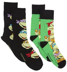 Mens 2 Pack Teenage Mutant Ninja Turtles Socks Add some Turtle power and walk like a ninja with these awesome Teenage Mutant Ninja Turtles socks! A pack of two nostalgic beauties for you to reminisce about your fave 80s cartoon! http://www.MightGet.com/february-2017-3/mens-2-pack-teenage-mutant-ninja-turtles-socks.asp