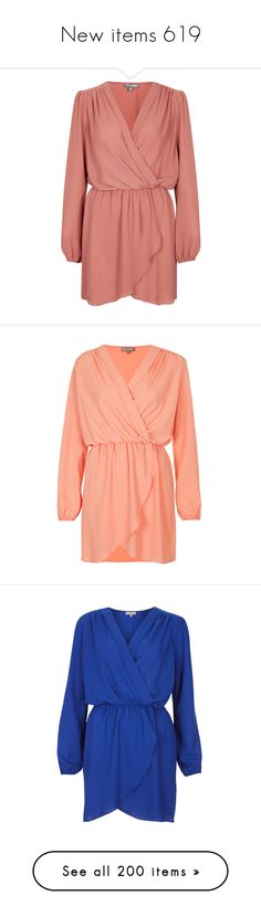 """""""New items 619"""" by cavallaro ❤ liked on Polyvore featuring dresses, robe, orange, red long sleeve dress, chiffon dress, red orange dress, v neck dress, red dress, vestido and peach"""