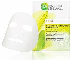 Garnier Light Intensive 3 in 1 Whitening Essence Mask 19ml Product of Thailand by Garnier. $19.00. Garnier Light Intensive 3 IN 1 Whitening Essence Mask  (19ml) Dermatologically Tested   Scutellaria Extract + Pure Lemon Essence + Tanggula Glacier Water  Reveals Fairer, Radiant and Hydrated skin  High fitting translucent tissue