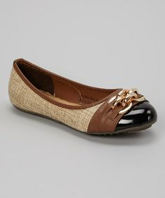 Great flat for only $12.99! It will dress up any outfit! This Light Beige & Brown Clasp Flat is perfect! #zulilyfinds