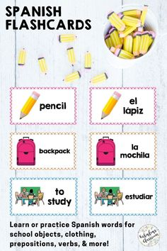 These digital AND printable Spanish vocabulary flashcards will make studying much easier! Practice school objects in Spanish, learn words for school activities en Español, and prepare for assessments. Words correspond with Así Se Dice 1 Chapter 3, en clase y después. #spanishflashcards #spanishvocabulary #spanishforkids Learning Spanish For Kids, Spanish Teaching Resources, Teaching Materials, Teacher Resources, Homeschooling Resources, Teaching Ideas, Spanish Lesson Plans, Spanish Lessons, Spanish Flashcards
