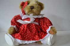 Vintage Jointed Teddy Bear in a Red Dress by TsEclecticCorner, $20.00