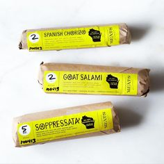 Goat Salami, Spanish Chorizo, and Soppressata Collection on Provisions by Food Packaging, Packaging Design, Packaging Ideas, Italian Salami, Goat Meat, Smoked Paprika, Food 52, Sauce, Chorizo
