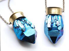 Cobalt Blue Aura Quartz Crystal Brass 12 Gauge Shotgun  Bullet Necklace by ChangesJewelry, $67.00