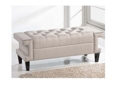 NEW Beige Linen Tufted Upholstered Bench Settee Ottoman Bed Seat Entryway Hall #Modern 20""