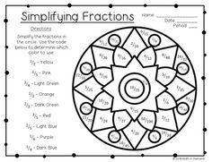 Simplifying Fractions Coloring Worksheet FREE