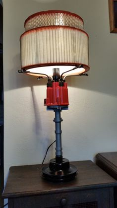 Man Cave/Repourposed chevy parts desk lamp. by TanglewoodIron on Etsy