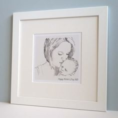 Bespoke Mother's Day Sketch based on a photograph of a mother and child letterfest.com