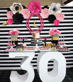 Wow! What a great 30th birthday black, white, pink and gold  birthday party! See more party ideas at CatchMyParty.com!