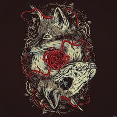 """""""And there they remained with Coyote in an afterworld ute-yomi"""" """"Ute-yomi"""" meaning """"Dead Home""""  Get inspiration from Miwok Native Americans Coyote death and afterlife Folklore.  #death #coyote #skull #animal #nativeamerican #redman #redskins #animalskull #myth #folklore #miwok #afterlife #rose #art #artsy #illustrator #illustration #draw #drawing #digitalart #digitalartist #digitalillustration #distro #tshirtdesign #artist #artwork #tattoo #tattooart by keimadness"""