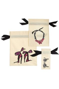Lanvin- Set of three printed cotton pouchesfor shoes, jewelry and sunglasses #travel