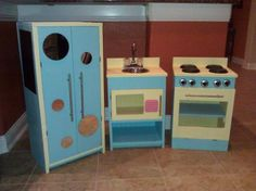 After looking at tons of different DIY play kitchens - this is the one I ended up making for my girls!!  I totally love it and so do they!  I had a blast doing it, and can't wait to get started on my next project.