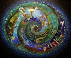 ➰ Beautiful spiral showing the different worlds and how all is connected. The shaman understands this intimately and by entering induced trance states which alter their consciousness, travel to different dimensions which he or she term as the lower, middle and upper worlds (depending on their purpose) as part of  their spiritual and healing practice (art by Sam Brown)