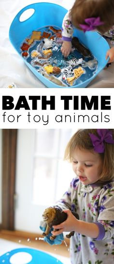 Bath Time for Toy Animals:  A fun indoor sensory experience for your toddler and a great way to clean grimy toys.  A win-win for everyone!
