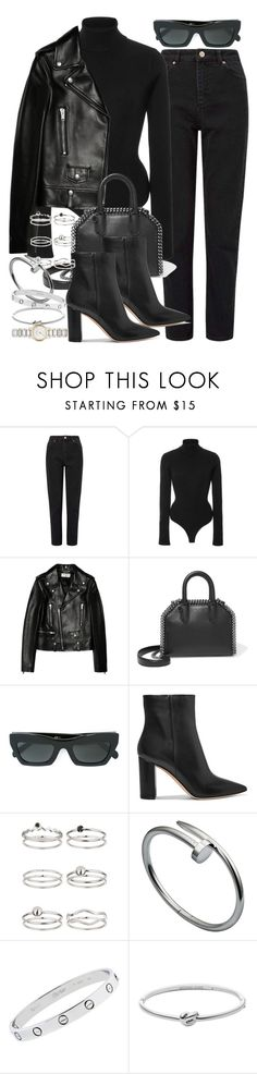 """Sin título #4559"" by hellomissapple ❤ liked on Polyvore featuring Miss Selfridge, Khaite, Yves Saint Laurent, STELLA McCARTNEY, CÉLINE, Gianvito Rossi, Cartier, Michael Kors and Burberry"