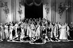 The royal family posed for a portrait on the day of the coronation, with Queen Elizabeth II in the center.