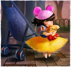 Steph Lew Art Blog!: Snow white loves cheetos!