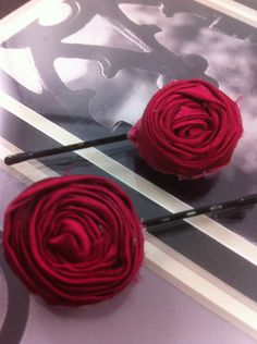 Two Handmade Magenta Pink Silky Lollipop Flower Hair by glamMKE, $6.00