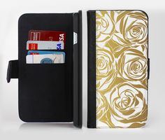The Gold and White Roses lnk-Fuzed Leather Folding Wallet Case For the Apple iPhone and Samsung Galaxy Devices by TheSkinDudes on Etsy https://www.etsy.com/listing/288983387/the-gold-and-white-roses-lnk-fuzed