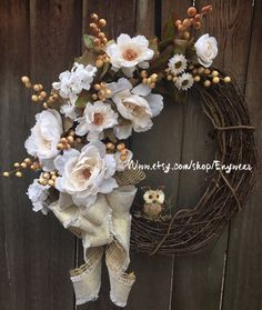 A personal favorite from my Etsy shop https://www.etsy.com/listing/456650364/large-rustic-french-cream-grapevine