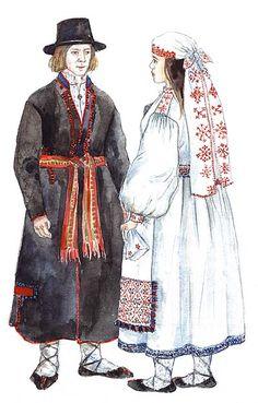 Tarvastu mees ja naine suveriietes ehk valges pallapooles. Naisel peas pikk tarvastu tanu.