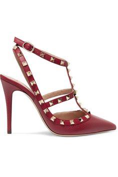 7d08eb2c21536 Valentino - Rockstud Textured-leather Pumps - Crimson Jimmy Choo Romy, Suede  Pumps,