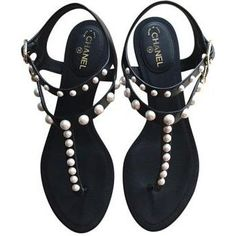 Chanel Black Velvet Flat Sandals with Pearls as seen on Gwyneth Paltrow