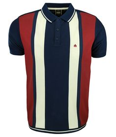 Merc London Navy Deerfield Stripe Polo TShirt men'spoloshirts men's polo shirts style is part of Polo shirt outfits - Polo Shirt Style, Polo Shirt Outfits, Polo Design, Bowling Shirts, Golf Shirts, Knit Shirt, Apparel Design, Couture, Menswear