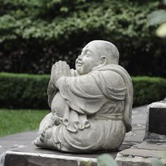 (Grey) Small Happy Buddha Praying Antique, Handmade in Indonesia